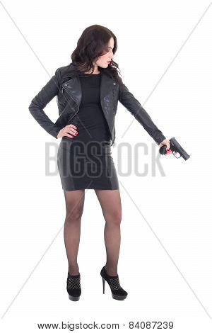 Woman In Black Holding Gun Isolated On White