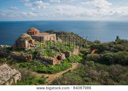 Medieval Church  At Monemvasia, Peloponnese, Greece
