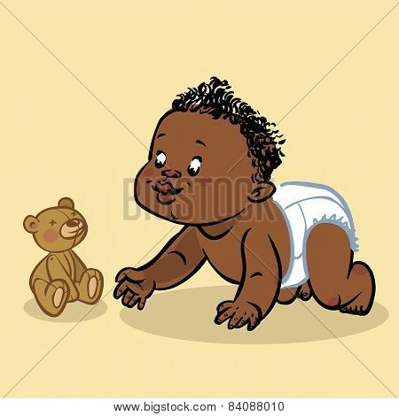 Funny Vector Cartoon Colorfull Crawling Black Baby. Vector Illustration