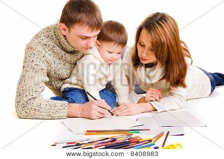Eltern mit Sohn Zeichnung