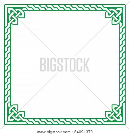 Celtic green frame, border pattern - vector