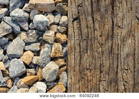 Close Up Old Wood That Support The Railway