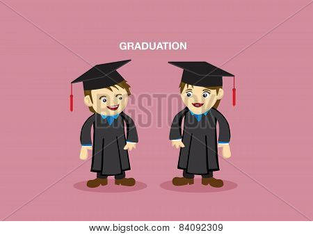 Cute Graduation Couple Mascot Vector Illustration