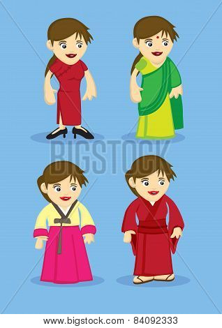 Traditional Asian Costumes For Women Vector Illustration