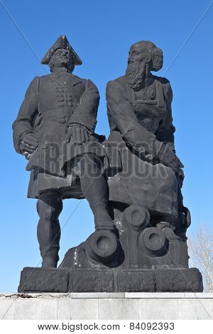 NEVYANSK, RUSSIA - FEBRUARY 19, 2015: Photo  of A monument to Peter I and Demidov.