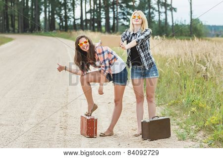 Student Girls Funny Grimacing And Hitchhiking