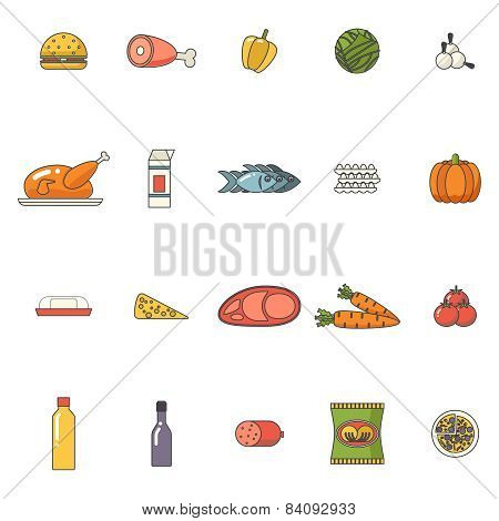 Food Icons Set Meat Fish Vegetables Drinks for Cooking Symbols Healthy and Healthsome on Stylish Bac