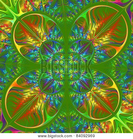 Multicolored Diagonal Symmetric Pattern Of The Leaves. Collection - Tree Foliage. In Blue, Green, Ye