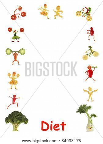 Diet. Little Funny People Made Of Vegetables And Fruits - Frame.
