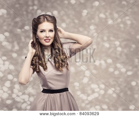 Retro Woman Hairstyle, Pin Up Girl Portrait, Elegant Model Make Up With Long Curly Hair