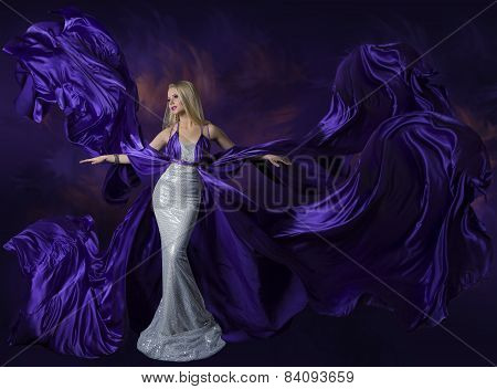 Woman Beauty Dress Flying Purple Silk Cloth, Lady Creative Fashion Gown Flowing And Waving On Wind