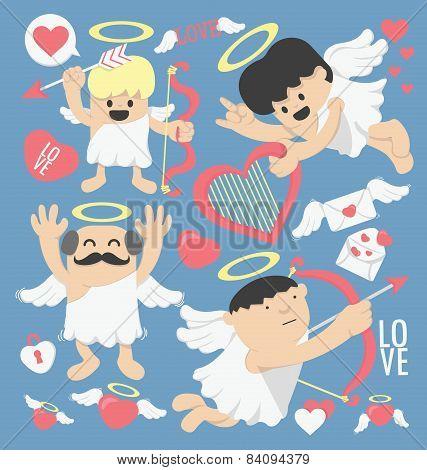 Illustrations Cartoon Cupid Bow And Arrows