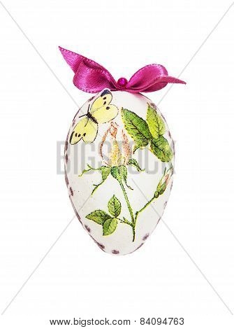 Beautiful Painted Easter Egg With Red Bow