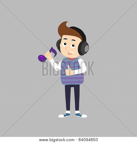 Stylish Boy Listening Music