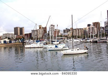 Yachts Moored In Durban Harbour With Buildings In Background