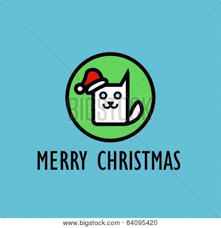Christmas Card With Image Of Cute Kitty