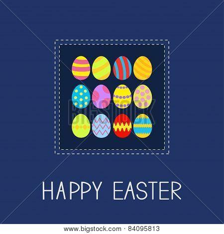 Colored Easter Egg Set Dash Line Frame Card Flat Design