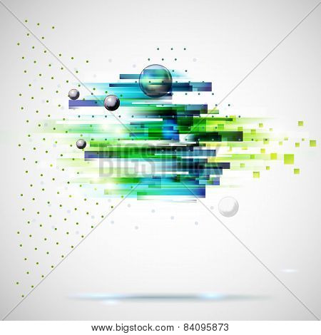 Abstract Technology  Geometric Wind Illustration