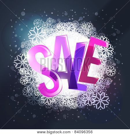 Winter Sale Colorful Typography At Winter Background