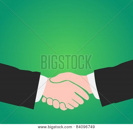 Handshake On Green Background With Copy Space