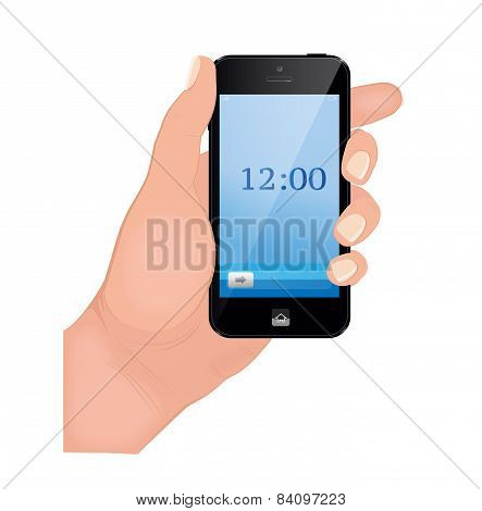 Hand holding smart phone on red background.