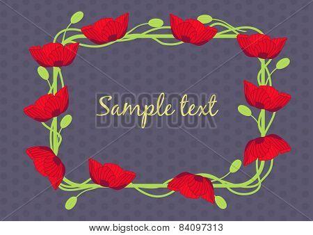 Vintage flower poppy frame