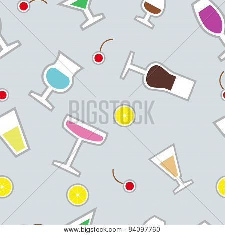 Vector seamless pattern with wineglass