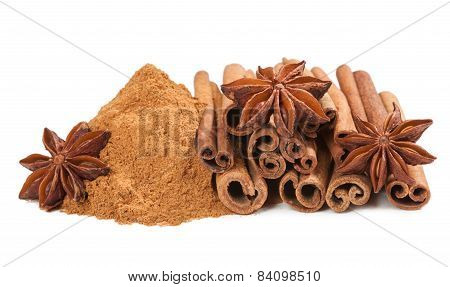Anis and cinnamon isilated on white background