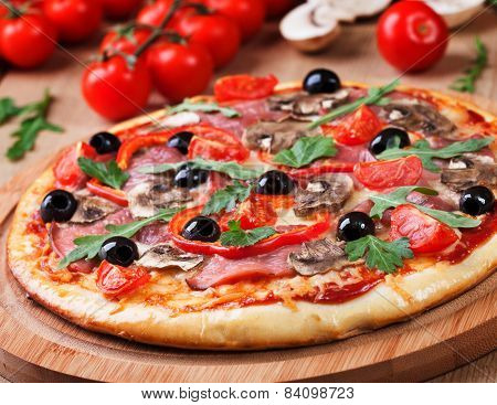 Tasty Pizza And Fresh Ingredients On The Table