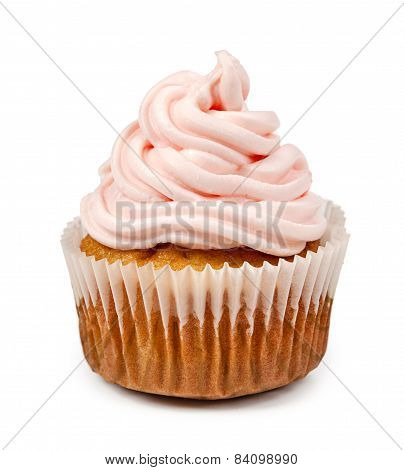 Birthday Cupcake Isolated On White Background