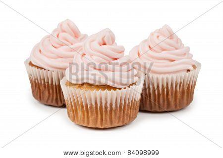 Birthday Cupcake Isolated On White Background