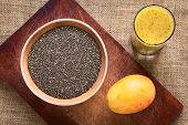 stock photo of mango  - Overhead shot of chia seeds  - JPG