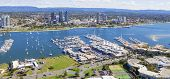 stock photo of marina  - Broadwater with marina and Southport on the Gold Coast Queensland - JPG