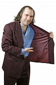 stock photo of drug dealer  - Photo of a sleazy drug dealer showing you what he has in his jacket - JPG