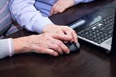picture of grandmother  - Hand of an elderly woman and a boy - JPG