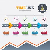 picture of musical symbol  - Timeline infographic with arrows - JPG