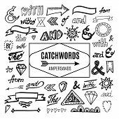 stock photo of ampersand  - Set of catchwords ampersands and other vector elements sketches hand drawn isolated doodles - JPG