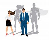 foto of superman  - Businessman and business woman office superheroes - JPG
