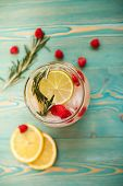 picture of lime  - detox water with raspberry - JPG