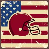 pic of football helmet  - American football label with helmet and flag - JPG