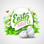 pic of easter eggs bunny  - Easter poster with eggs and flowers - JPG