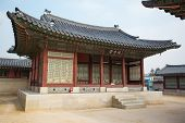 stock photo of seoul south korea  - Gyeongbokgung Palace and its grounds on a fine autumn day in Seoul - JPG