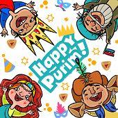 pic of purim  - Happy jewish children in fancy dress injoy Purim - JPG
