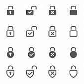 foto of combination lock  - Locks Icons on white background - JPG