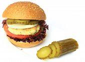 foto of veggie burger  - Vegan sea burger isolated on white background - JPG