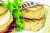 image of patty-cake  - Vegan sea burger patties closeup on white background - JPG