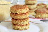 picture of patty-cake  - Vegan okara sea burger patties closeup background - JPG