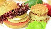 foto of patty-cake  - Vegan sea burger and patties closeup background - JPG