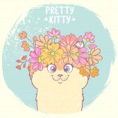 stock photo of kitty  - Beautiful and cute hand drawn kitty with a floral wreath on head - JPG