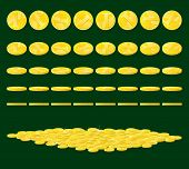 pic of coins  - Golden coin rotated in various positions and heap of coins - JPG